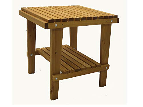 Kilmer Creek Cedar Side Table with Shelf & Stained Finish, Amish Crafted