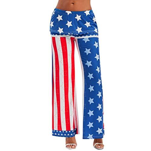 Realdo Women American Flag Print Trousers, Fashion Womens High Waist Wide Leg Pants Leggings Loose Trousers(Large,White) ()