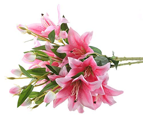 Gumolutin 3 Pcs Long Stem Artificial Lilies Flowers Fake Silk Full Bloom Lily for Home Table Centerpieces Arrangement Wedding DIY Decoration, Pink (Bloom Artificial Flowers)