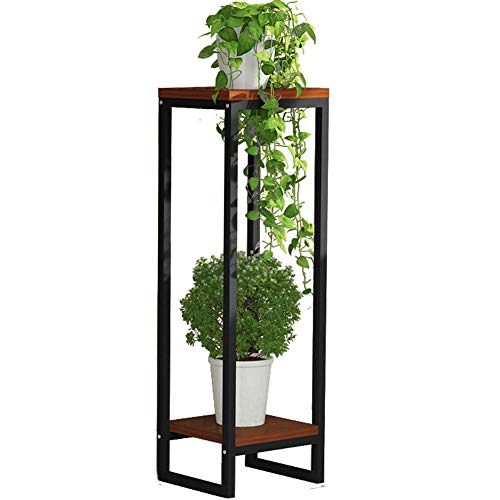 2 Tier Plant Stand 37.4in Art Flower Pot Holder Rack Planter Metal Wood Potted Plant Stand Supports Decorative Pots Containers Stand Garden Balcony Patio Living Room