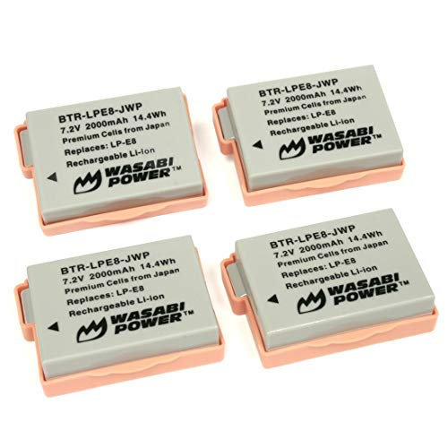 Wasabi Power Battery for Canon LP-E8 (4-Pack) for Canon EOS 550D, EOS 600D, EOS 700D, EOS Rebel T2i, EOS Rebel T3i, EOS Rebel T4i, EOS Rebel T5i