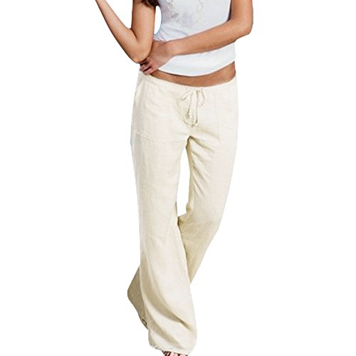 Youthny Women's Casual Cotton Linen Wide Leg Flared Pants With Drawstring (Wide Leg Linen Blend Pants)