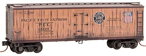 Micro-Trains MTL N-Scale 40' Wood Reefer Pacific Fruit Express Weathered #65125