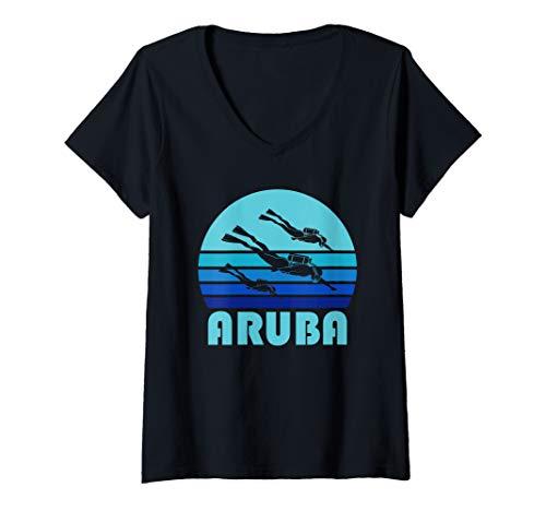 Womens Aruba Scuba Diving Caribbean Diver V-Neck T-Shirt