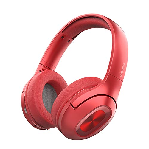 (ZFD Wireless Bluetooth Headphones, 5.0 Sports Headphones Over Ear Earphone with Games Mic Pluggable Retractable Protein Earmuffs for Running Gym Travelling,Red)