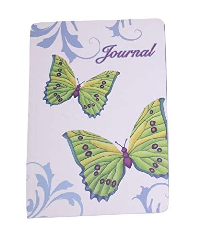 """Studio 10 Rachel Tribble Perfect Paperback Journal ~ Green Butterflies on White with Blue Scroll, Journal (5"""" x 7""""; 80 Sheets, 160 Pages)"""