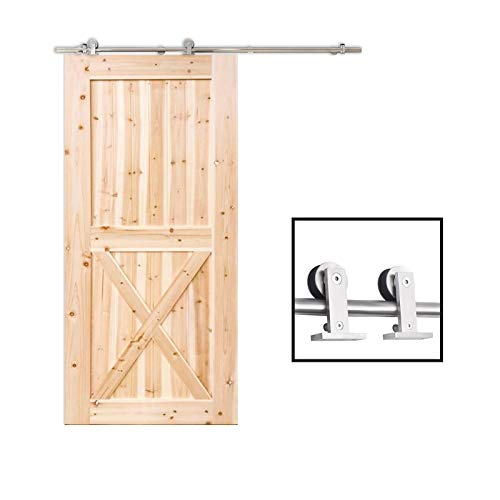 TCBunny 6.7ft Modern Stainless Steel Interior Sliding Barn Wooden Door Hardware Track Set, Stainless Steel