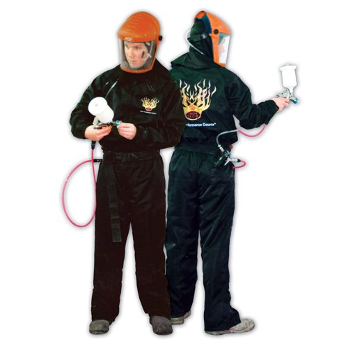 High Teck Carbon Fiber Anit-Static Paint Spray Suit Large Black