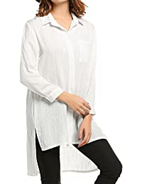 Women's Loose Fit Long Casual Blouses Hi-Low Hem Tunic Tops with Pockets