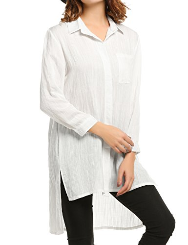 Meaneor Womens Casual Blouses Pockets