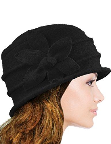 Dahlia Women's Daisy Flower Wool Cloche Bucket Hat - Black