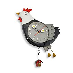 Allen Designs `Flew the Coop` Chicken Wall Clock with Barn Pendulum