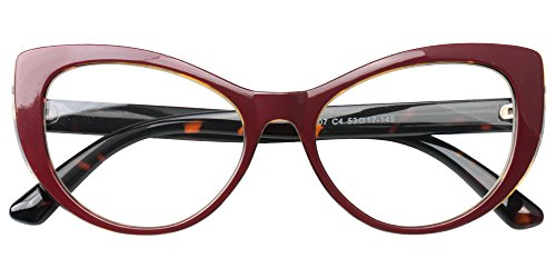 SOOLALA Womens Large Frame CatEye Prescription Glass Frame Reading Glasses, FloralRed, ()