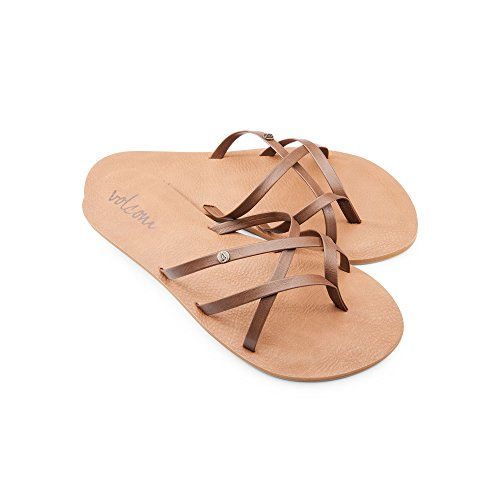 Volcom New School Womens Dress Sandal,Brown,6 US
