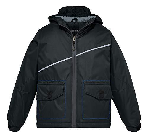 Wantdo Boy's Windproof Ski Fleece Jacket Hooded Warm Rain Coat(Black, 14/16)