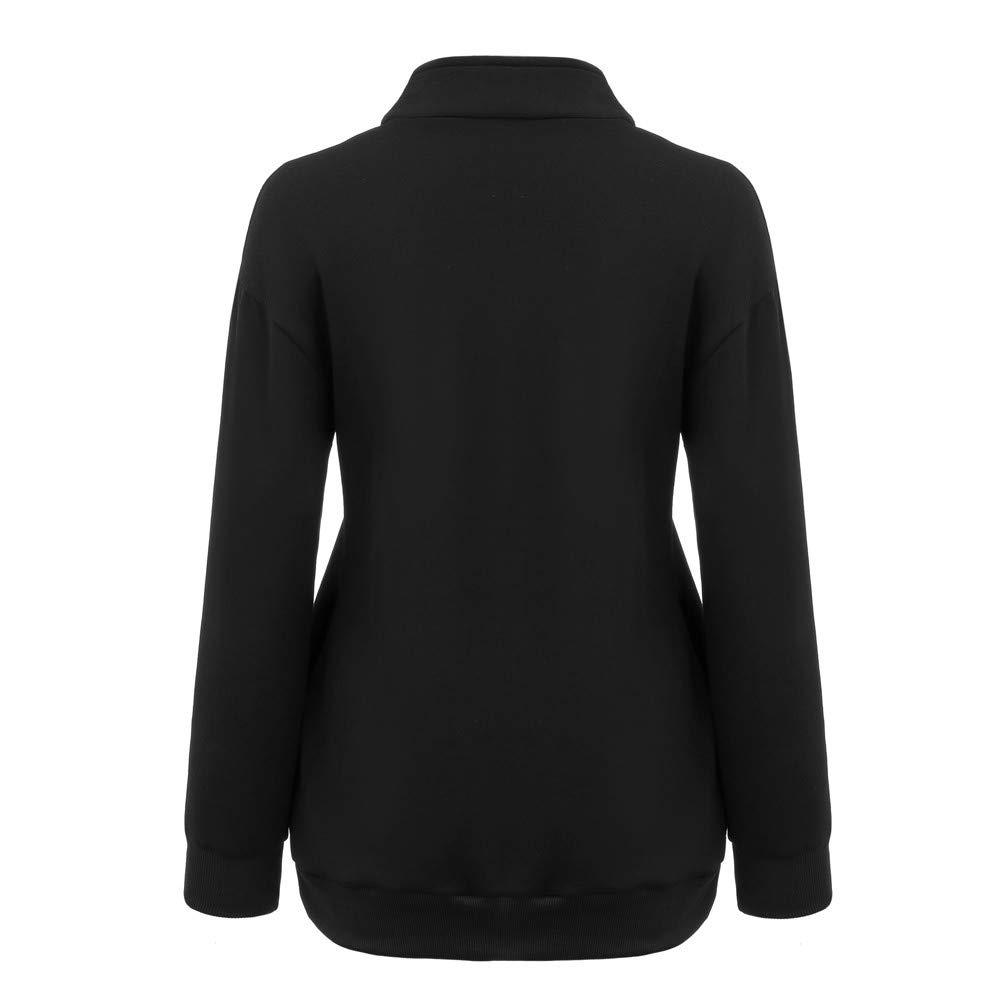 Ulanda Womens Oversized Long Sleeves Stand Collar 1//4 Zip Fleece Pullover Shirt Casual Sweatshirts Tops