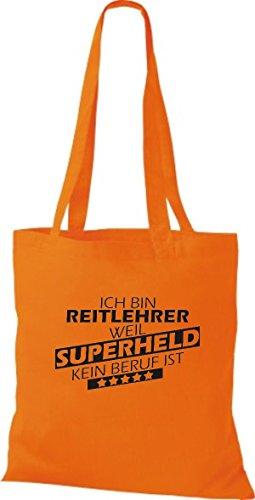 Shirtstown Stoffbeutel Ich bin Reitlehrer, weil Superheld kein Beruf ist orange
