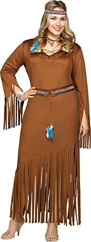Plus Size Pocahontas Costumes (Fun World Women's Plus Size Indian Summer Costume, Brown, XX-Large)