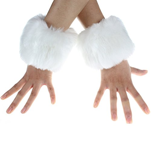 Women's Fur Wrist Warmer Sexy Furry Fuzzy Wrist Cuffs Cover Arm Warmer (White) by Gupiar
