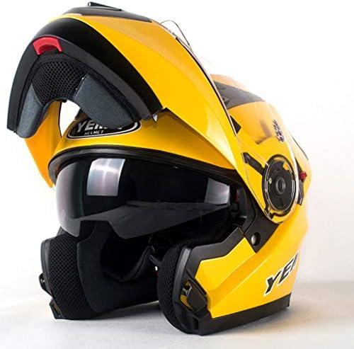 NJ ヘルメット- 電動バイクのヘルメットの男性と女性の顔ヘルメットのフォーシーズンズユニバーサル日焼け止めのダブルレンズのヘルメット (Color : Yellow, Size : 35x23cm)