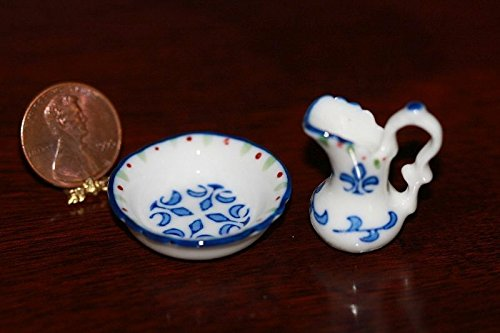 (Dollhouse Miniature Blue and White Pitcher and Washbasin in Porcelain )