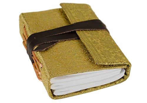 Sari Mini Gold Handmade Handbound Journal, Plain Pages (13cm x 9cm x 3cm)