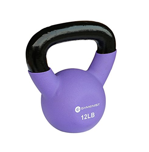 Gymenist Kettlebell Fitness Iron Weights With neoprene Coating Around The Bottom Half of The Metal Kettle Bell (12 LB)