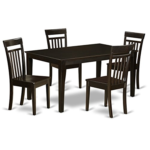 East West Furniture CAP5S-CAP-W 5 Pc Kitchen Table Set for 4 Set-Kitchen Table and 4 Kitchen Dining Chairs