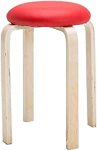 CAIS Chair Stackable Wood Stools,Round Stools Dining Chair Faux Leather Padded Indoor Outdoor Home Kitchen,White,Red