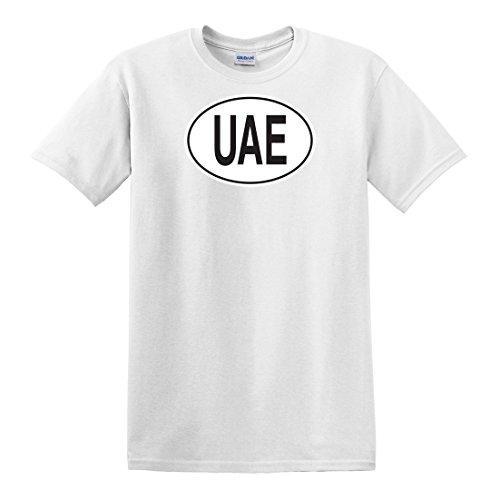 fagraphix Men's UAE United Arab Emirates Country Code Oval T-Shirt Small White