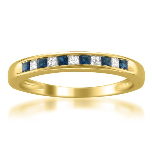 Mens Diamond & Sapphire Ring (14k Yellow Gold Princess-cut Diamond and Blue Sapphire Wedding Band Ring (1/3 cttw, H-I, I1-I2), Size 7.5)
