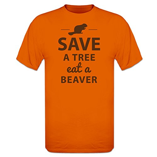 Shirtcity Save A Tree Eat A Beaver Design T-Shirt XL (Beaver Funny T-shirt)
