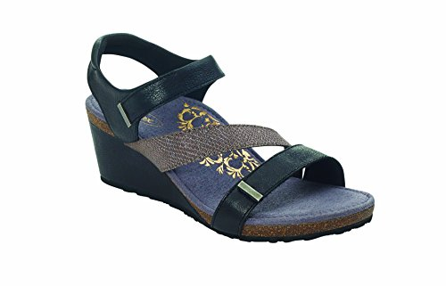 Brynn Quarter Strap Wedge - - Black Aetrex Shoes