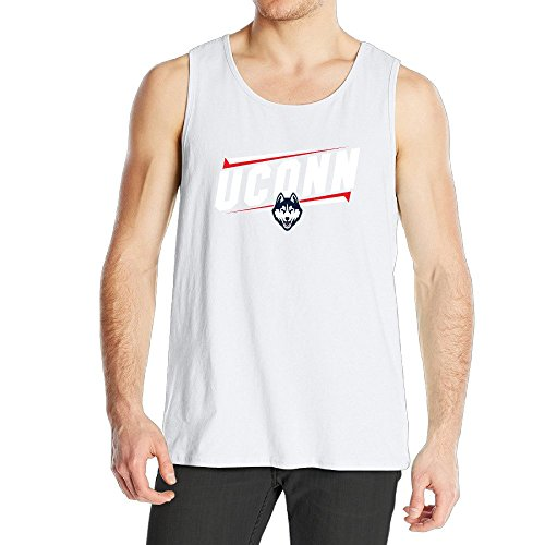 STUAOTO Men's University Of Connecticut UCONN UConn Huskies Logo Tank Top White