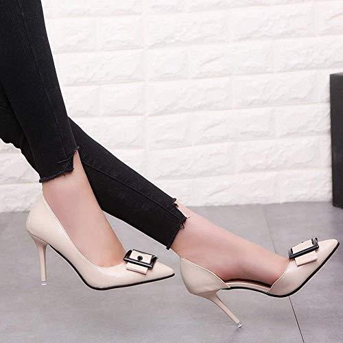 Tamaño Negro Moda Alto Negro Con De Tacón Puntas color Trabajo 36 Zapatillas Zapatos Fuxitoggo Hebilla qgSfwf