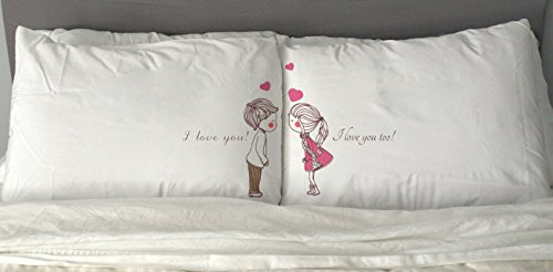 I Love You Couple Pillowcases Romantic Cute Gift for His and Hers Him or Her by So Cute