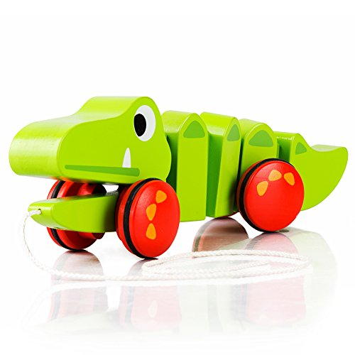 - cossy Wooden Pull Toys for 1 Year Old, Alligator Push Toy for Toddler Toys