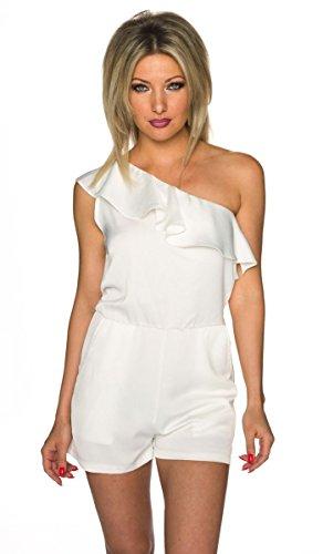 Asymmetrisch geschnittener Hotpants-Overall aus leicht glänzendem Stoff - weiß
