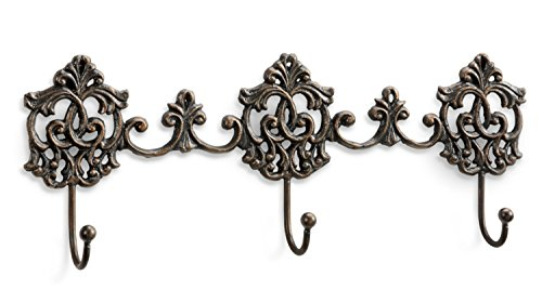 SPI Home Elegant Ornate Scroll Triple Wall Hooks 16.5 Inches Antiqued Brass Finish