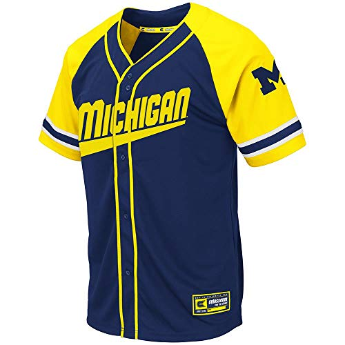 (Colosseum Mens Michigan Wolverines Wallis Baseball Jersey - L)