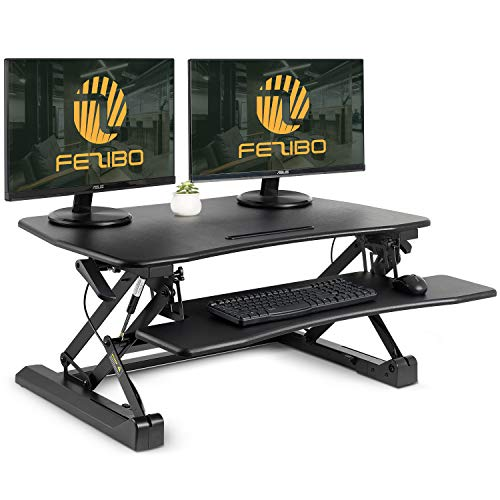 Standing Desk Converter with Height Adjustable  FEZIBO Black 36