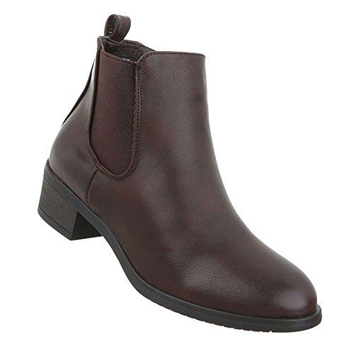 Damen Schuhe Stiefeletten Used Optik Boots Dunkelbraun