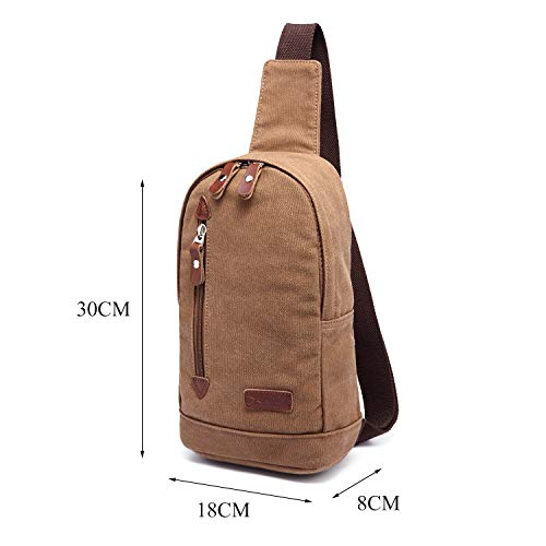 Marrón Daypack Bag Hombro Bolsa de Marrón Chest de Hombres Mochila Deporte Bolsa Crossbody Bag Lona Hx76n