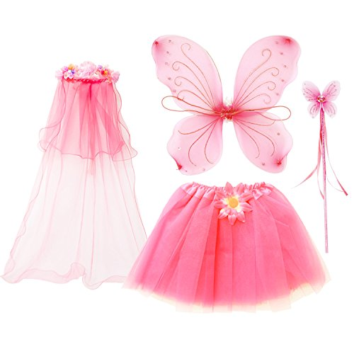 fedio 4Pcs Girls Princess Fairy Costume Set with Wings, Tutu