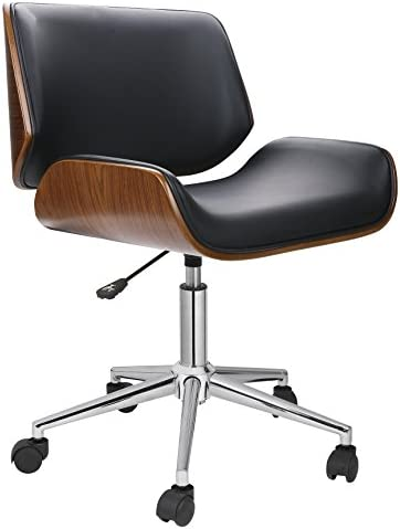 Porthos Home Dove Office Chairs in Mid-Century Modern Design with Leather Upholstery, Wooden Accents, Stainless Steel Legs, Roller Wheels Adjustable Height, Black