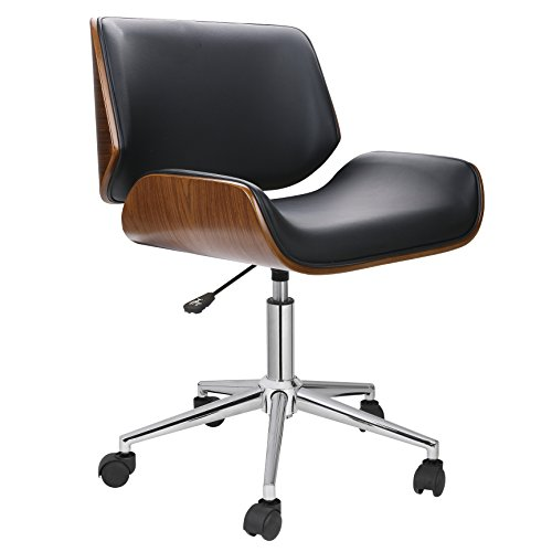 Porthos Home KCH019A BLK Dove Office Chairs in Mid-Century Modern Design with Leather Upholstery, Wooden Accents, Stainless Steel Legs, Roller Wheels & Adjustable Height, Black ()