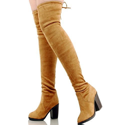 Guilty Shoes Womens Comfortable Stretchy Chunky Block Heel Fitted Back Tie - Thigh High Over The Knee Winter Boots Boots, Tan Suede, 9 (B) M US