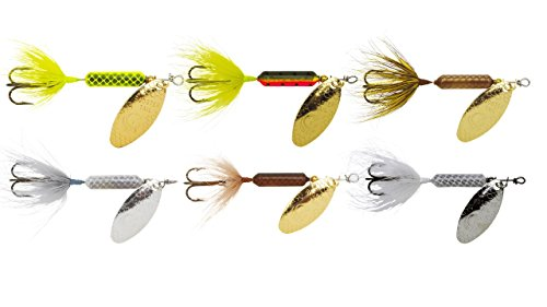 Yakima Bait Rooster Tail Trophy PAK 1/6oz Spinner Assortment, 6 Pack- CHR, Frt, GH, Grn, Sf, WH Mix ()