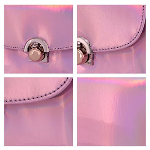 PU Novias Fashion Party Silver Pink Bag Cross Women Leather Boutique Chain with Bag Shoulder Body Mini qv4twCf