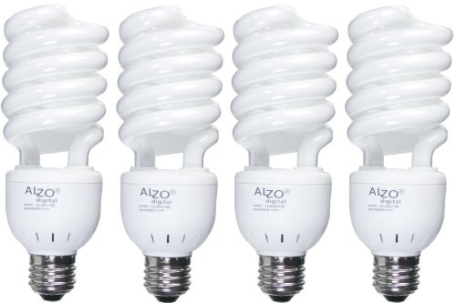 ALZO 27W CFL Video-Lux Photo Light Bulb 5600K, 1300 Lumens, 120V, Pack of 4, Daylight Pure White Light, Matches Color Temperature of Incandescent, Kino Flo and Osram - Bulbs Flo Kino